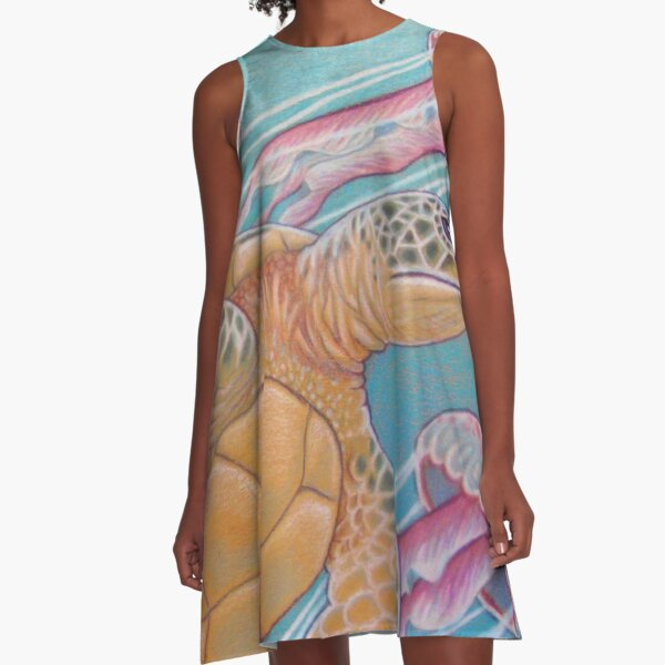 Seaturtle and Jellies A-Line Dress