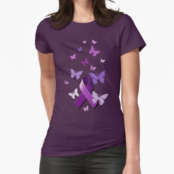 Purple Awareness Ribbon with Butterflies  Fitted T-Shirt