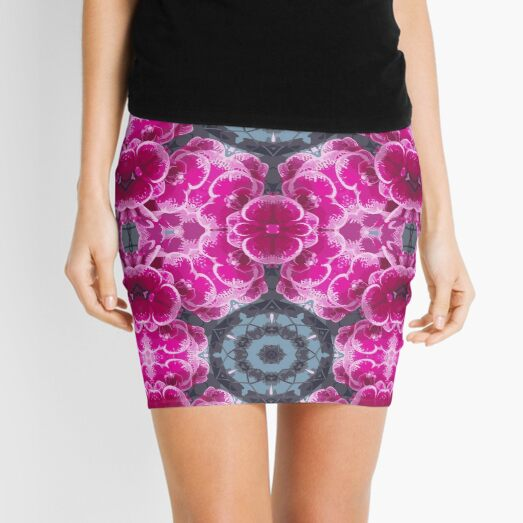 CLUSTER OF ORCHIDS PINK PSYCHODELIC MODERN PRINT for the bold in pink and reds, grey, black and white Mini Skirt