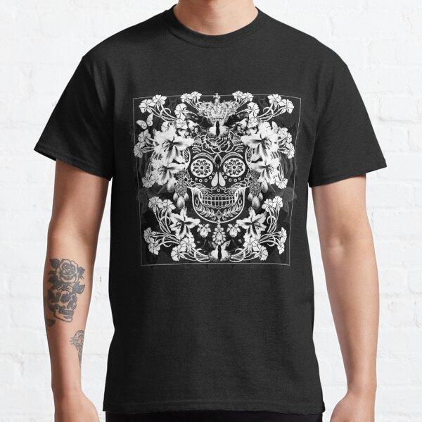 calavera en blanco y negro Camiseta clásica