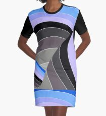 Curves in Gray and Blue Graphic T-Shirt Dress