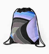 Curves in Gray and Blue Drawstring Bag