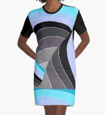 Curves in Gray and Turquoise Graphic T-Shirt Dress
