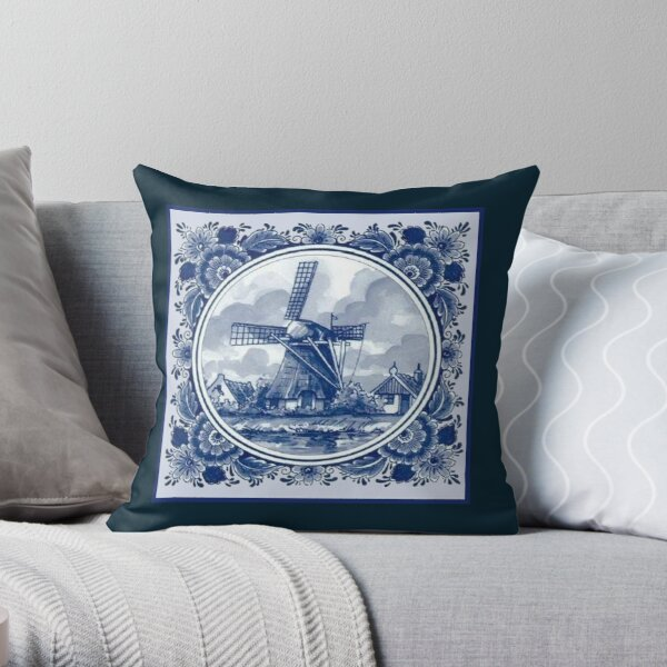 DUTCH BLUE DELFT : Vintage Windmills and Trees in Amsterdam Print Throw Pillow