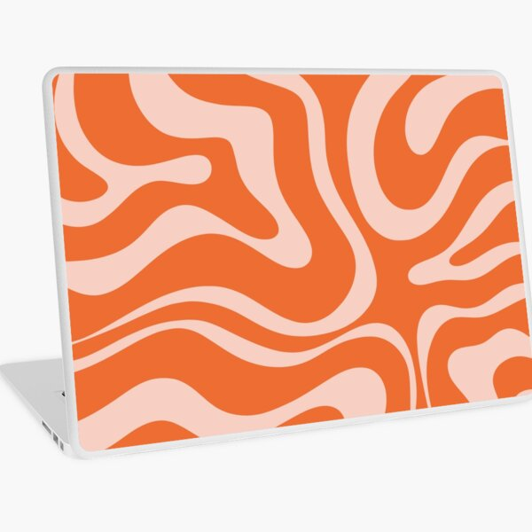Liquid Swirl Modern Abstract Pattern in Orange and Pale Blush Pink Laptop Skin