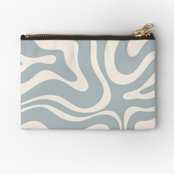 Liquid Swirl Abstract Pattern in Cream and Light Blue-Grey Zipper Pouch