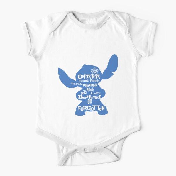 Stitch Ohana means family Short Sleeve Baby One-Piece