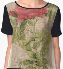 Vintage Burlap Floral 1 Women's Chiffon Top