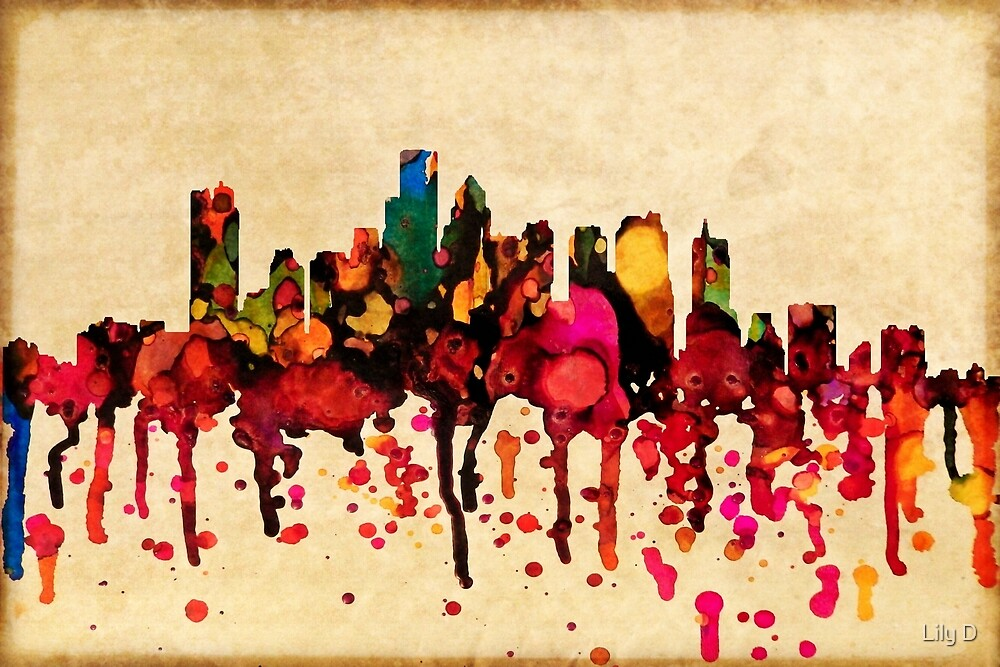 City of Boston in liquid color by Art Dream Studio