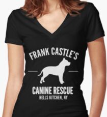 Frank Castle - Dog Rescue Women's Fitted V-Neck T-Shirt