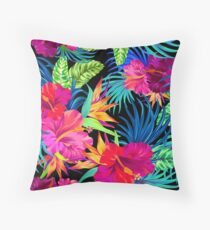 Drive You Mad Hibiscus Pattern Throw Pillow