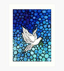 Peacefull Journey - White Dove Print Blue Mosaic Art Art Print