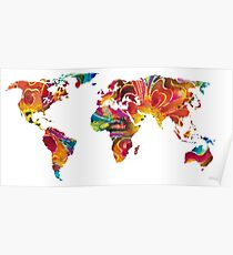 Map of The World 2 -Colorful Abstract Art Poster