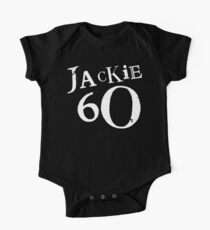Jackie 60 Classic White Logo on Black Gear Short Sleeve Baby One-Piece