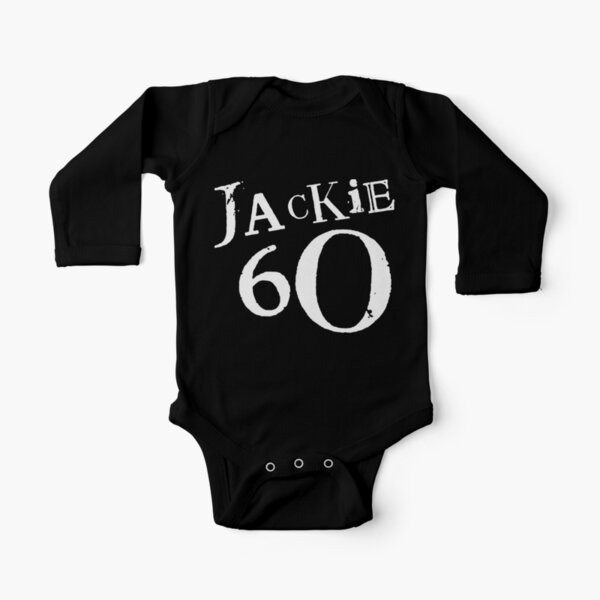 Jackie 60 Classic White Logo on Black Gear Long Sleeve Baby One-Piece
