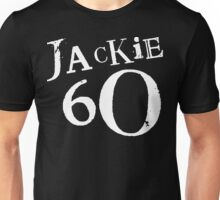 Jackie 60 Classic White Logo on Black Gear Unisex T-Shirt