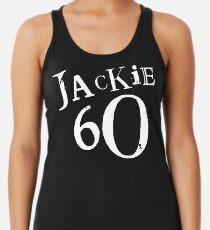 Jackie 60 Classic White Logo on Black Gear Racerback Tank Top