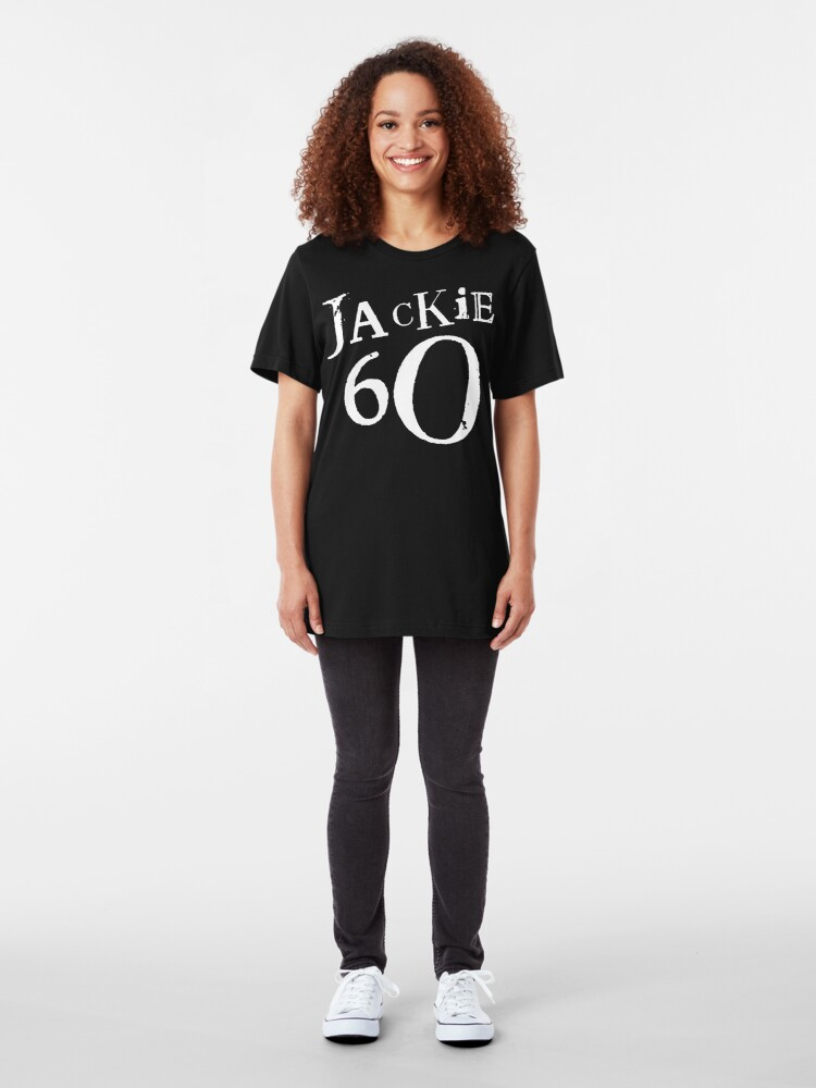 Alternate view of Jackie 60 Classic White Logo on Black Gear Slim Fit T-Shirt