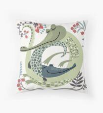 Crocodile love Throw Pillow