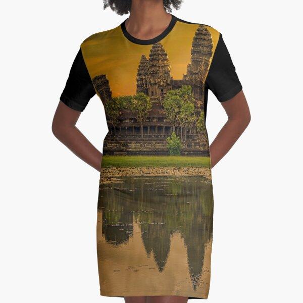 Angkor Wat Cambodia Sunset Graphic T-Shirt Dress