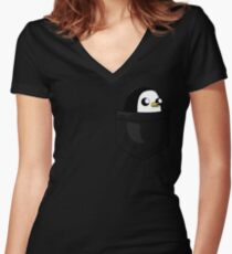 There's an evil penguin in my pocket! Women's Fitted V-Neck T-Shirt