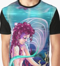 Reef Mermaid Eating Coral Graphic T-Shirt