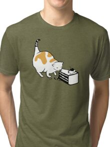 Science Cat STICKER Tri-blend T-Shirt