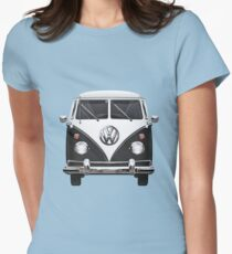 Volkswagen Type 2 - Black and White Volkswagen T1 Samba Bus on Red  Womens Fitted T-Shirt