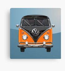 Volkswagen Type 2 - Black and Orange Volkswagen T1 Samba Bus over Blue Canvas Print