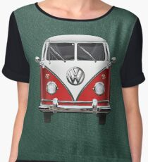 Volkswagen Type 2 - Red and White Volkswagen T1 Samba Bus over Green Canvas  Chiffon Top