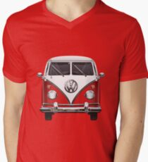 Volkswagen Type 2 - Red and White Volkswagen T1 Samba Bus over Green Canvas  T-Shirt