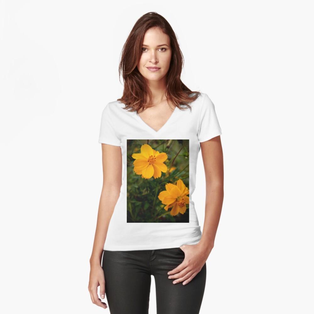 Golden Coreopsis Fitted V-Neck T-Shirt
