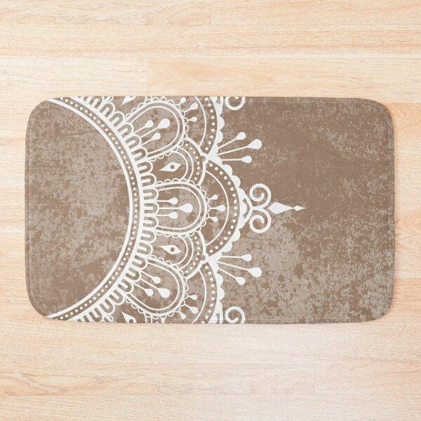 Original Beige Mandala Neutral Color Bath Mat