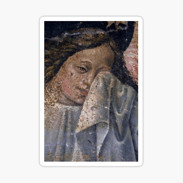 An angel dries her tears in Renaissance fresco Sticker