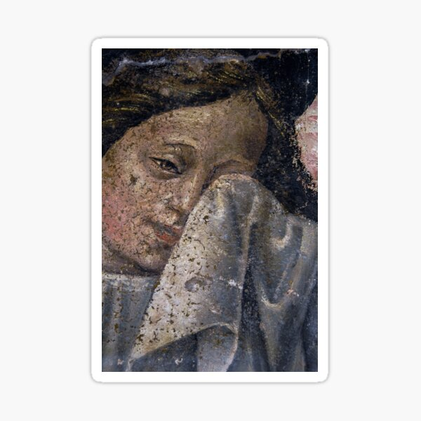 A weeping angel dries her tears Sticker