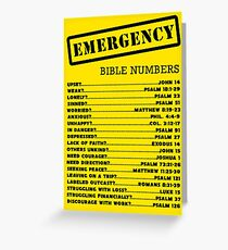 Emergency Bible Numbers Greeting Card