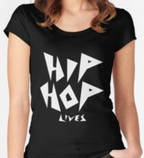 Hip Hop Lives - White Women's Fitted Scoop T-Shirt