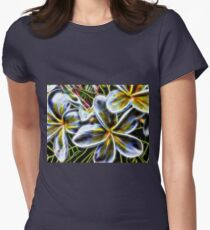 Bright Frangipani Flower Fractal Womens Fitted T-Shirt