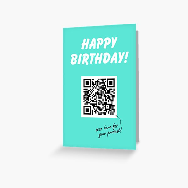 QR Code Birthday Card Blue | Rick Astley | Never Gonna Give You Up | Rick Roll | Rickroll Greeting Card