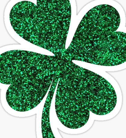 Green glitter shamrock clover sticker - PRINTED IMAGE Sticker