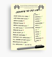 John McClane's To Do List Canvas Print