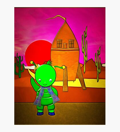 A Child Alien With His Wooden Spaceship Photographic Print