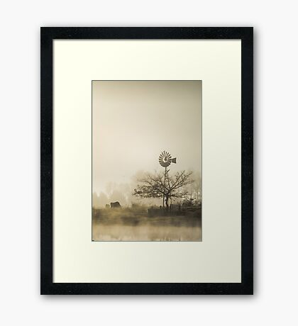 Windmill in the Fog Framed Print