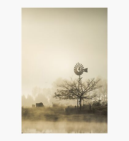 Windmill in the Fog Photographic Print