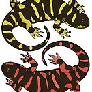 Lizards Yellow-Red by Colin Bentham