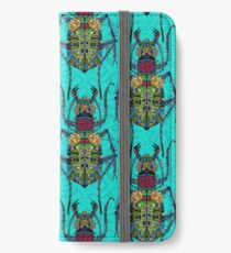 flower beetle turquoise iPhone Wallet