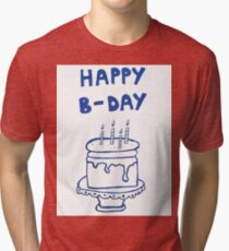 Happy birthday card with cake  Tri-blend T-Shirt