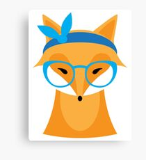 Funny animal with glasses Canvas Print
