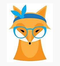 Funny animal with glasses Photographic Print