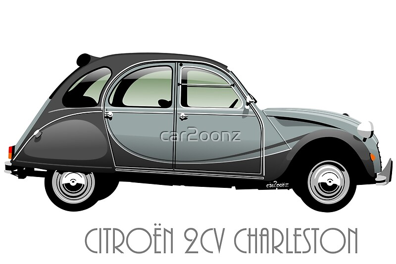 citro n 2cv charleston grey art prints by car2oonz. Black Bedroom Furniture Sets. Home Design Ideas